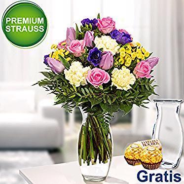 Premiumstrauss Farbenfreude Mit Vase 2 Ferrero Rocher In 2020