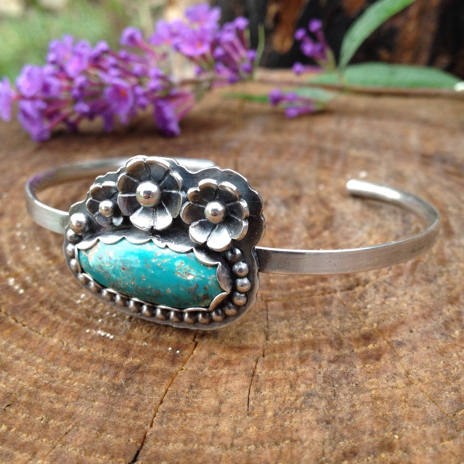 Handforged Turquoise and Sterling Silver Cuff Bracelet. Floral Open Bracelet. Silver and Turquoise Cuff. Boho Jewelry. Nature Inspired. by QuietTimeJewelry on Etsy