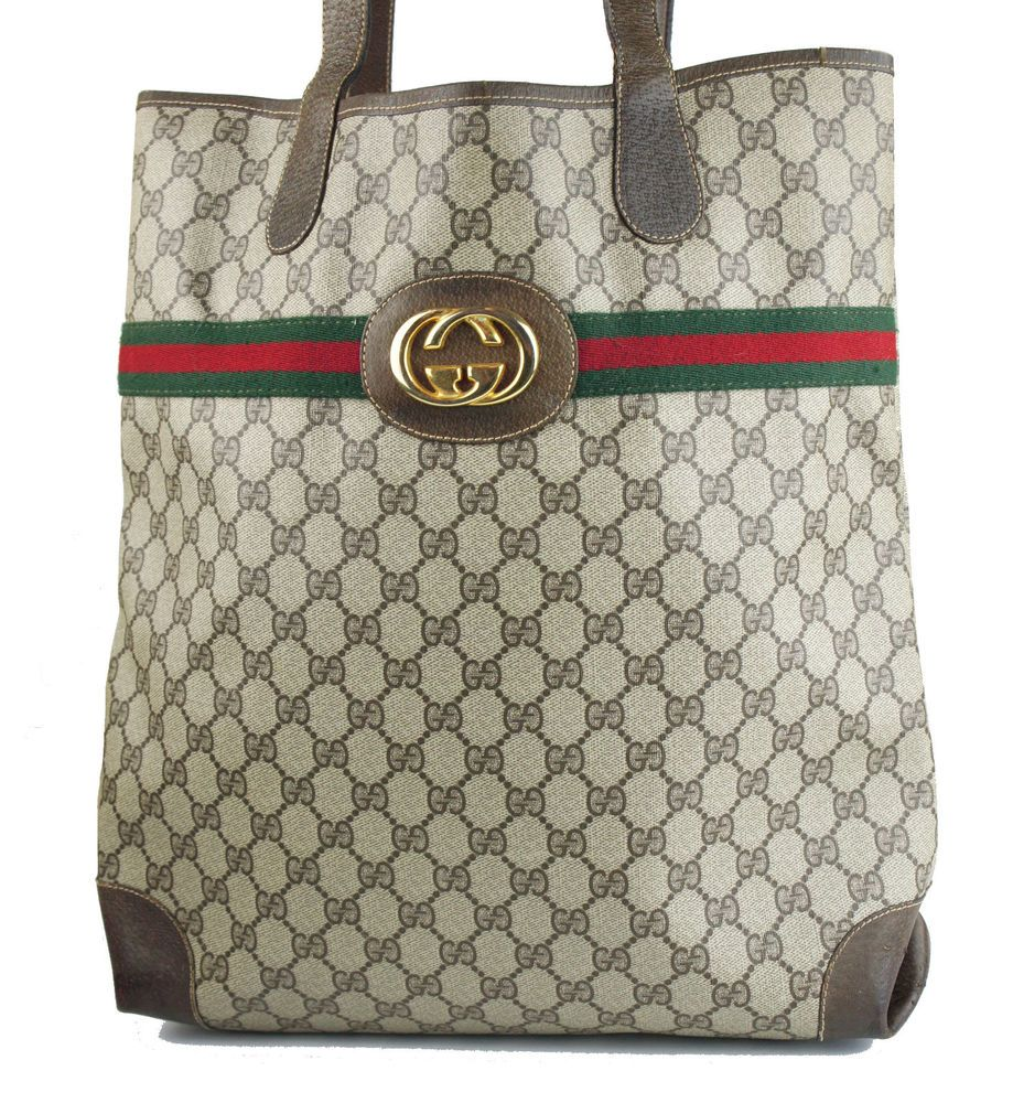 61417eb1046230 Vintage GUCCI Brown Monogram Iconic Stripe Tote Shoulder Bag Handbag - RARE  #Gucci #TotesShoppers
