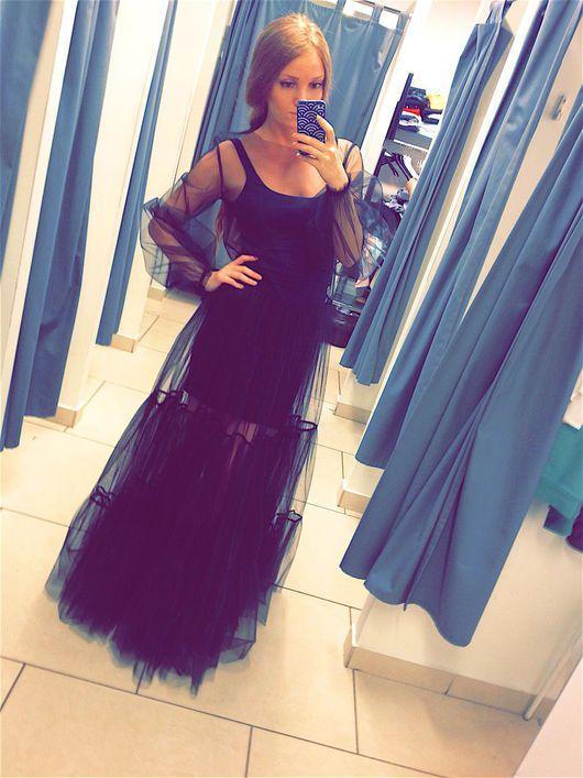 2016c70c58c Платья ручной работы. Ярмарка Мастеров - ручная работа. Купить Шикарное  черное платье из фатина. Handmade. Платье из фатина