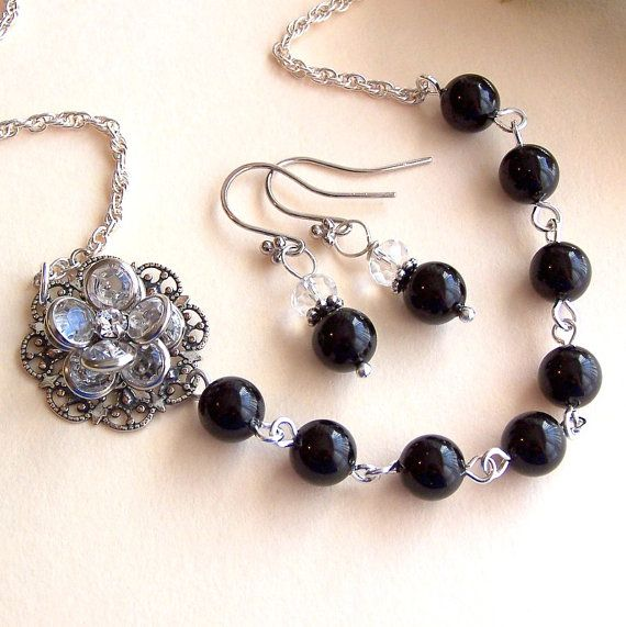 Bridesmaids  Gift Necklace and Earring Set  Black by lecollezione, $52.92