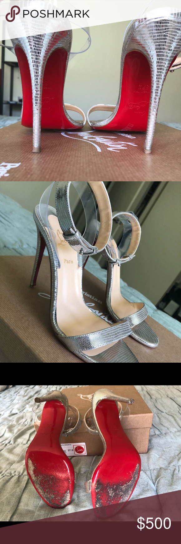 low priced 5ff38 ca5b0 Jonatina Christian Louboutin Red Bottom Size 37.5 Silver and ...