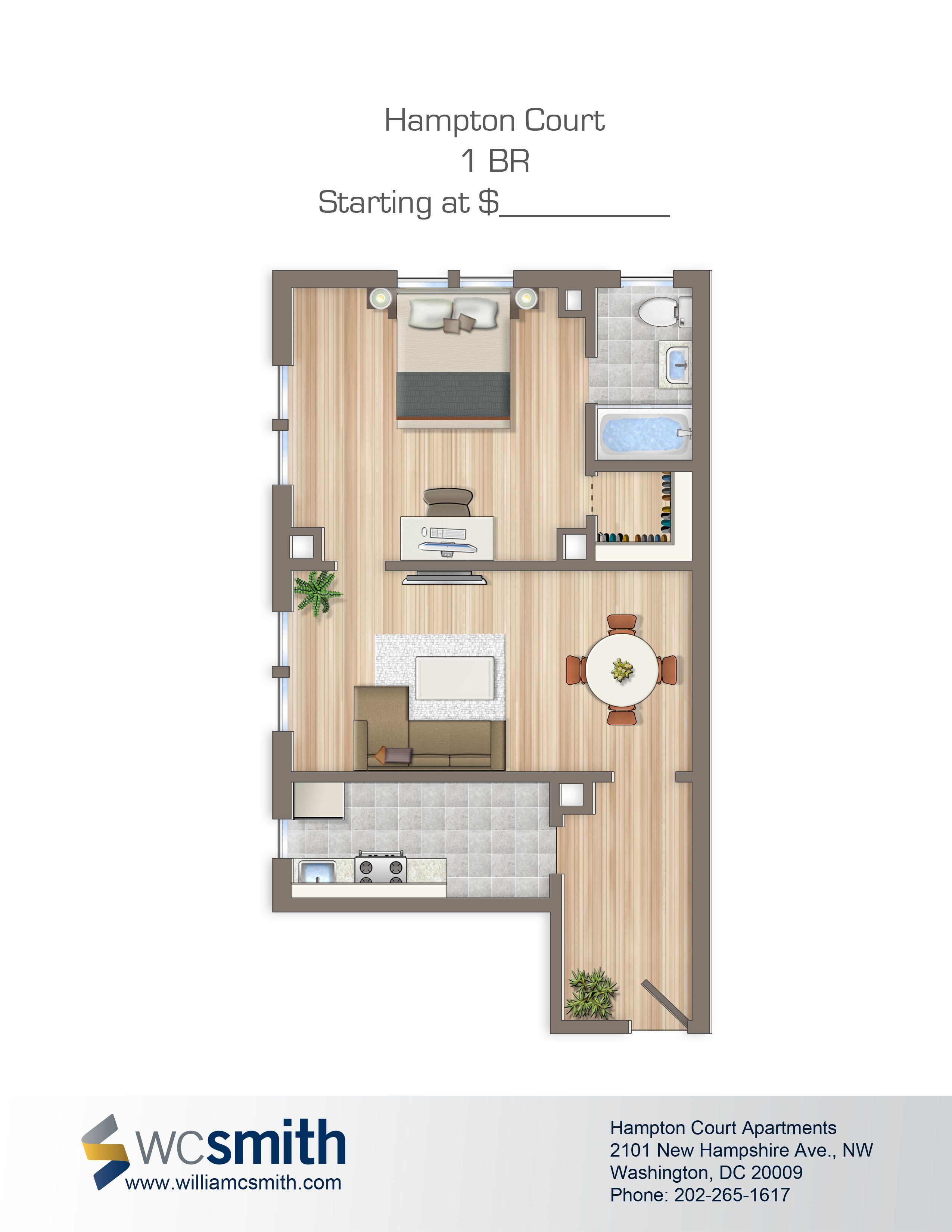One bedroom floor plan hampton courts apartments in - 1 bedroom apartments washington dc ...