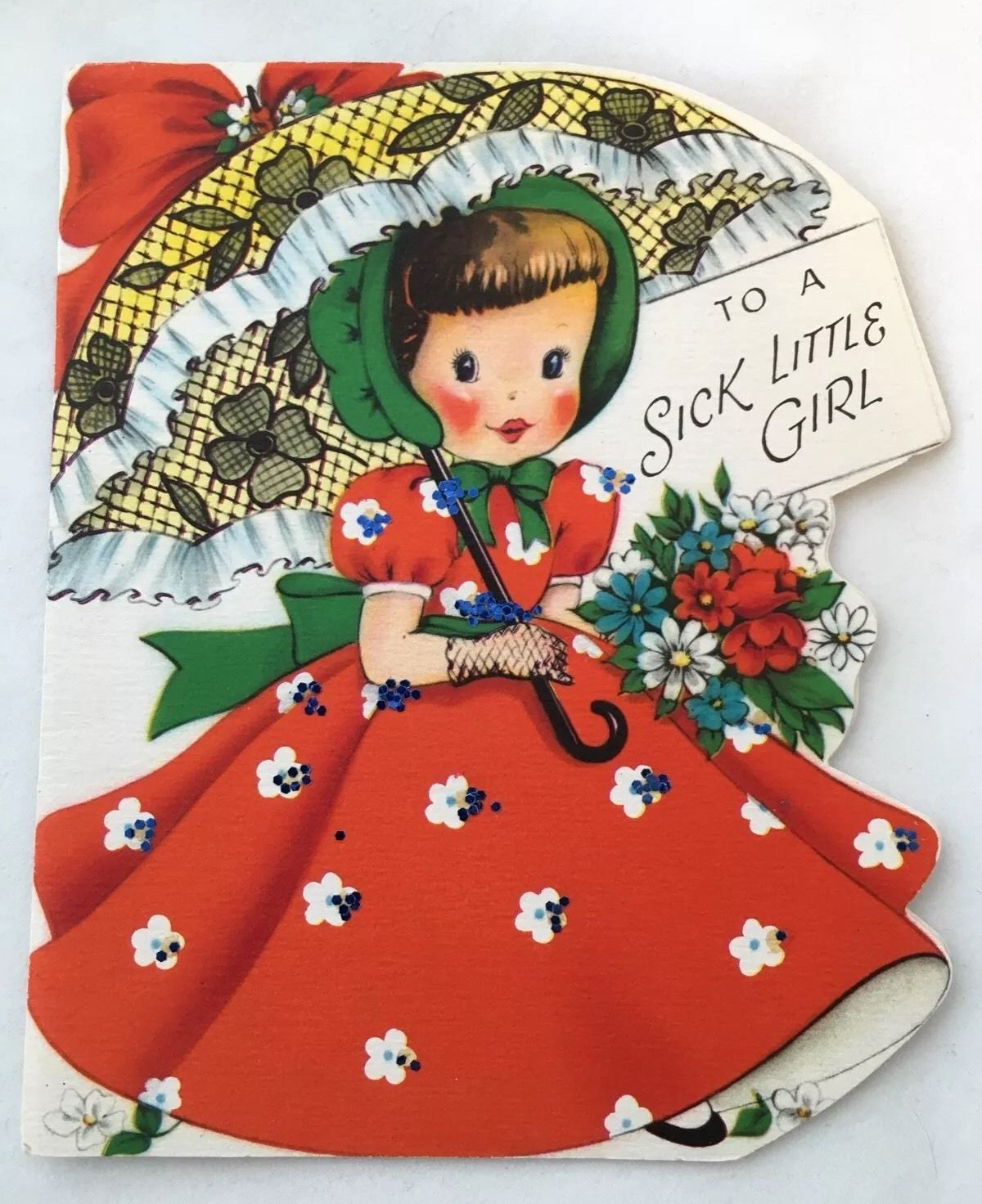 Pretty Girl Red Dress Lace Parasol Flowers Glitter Vintage Die Cut Get Well Card…