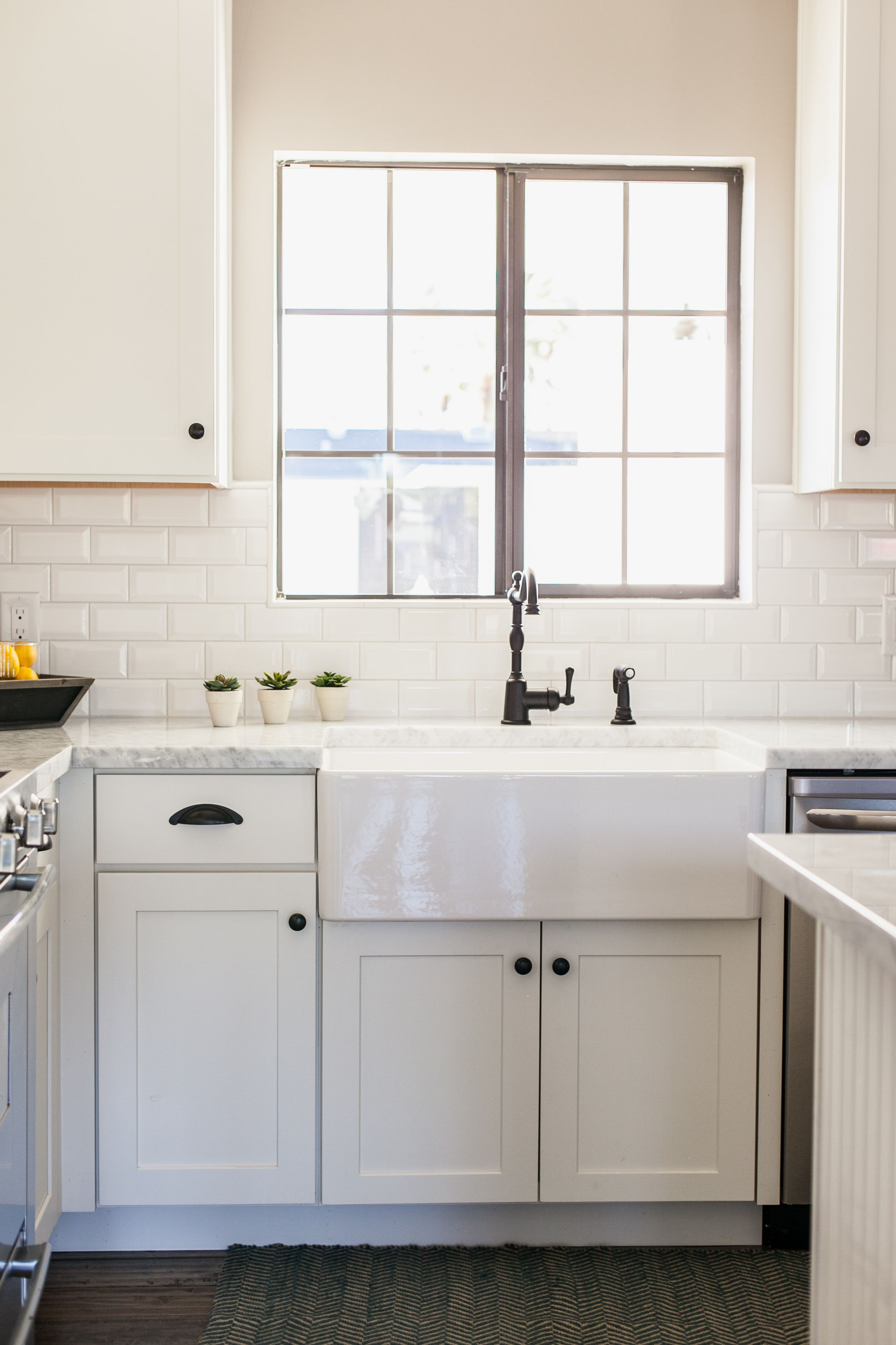 "White shaker style with 30"" farmhouse sink by"