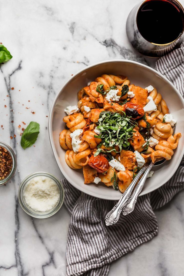 Date night pasta pomodoro with chicken & goat cheese #fooddinners