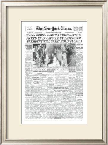 New York Times, February 21, 1962: Glenn Orbits Earth Three Times in ...