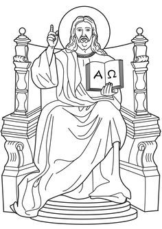 Jesus On Throne Coloring Page Sketch