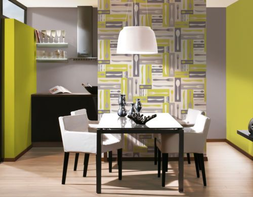 As Creation Retro Kitchen Wallpaper Lime Green Cutlery 3030 28