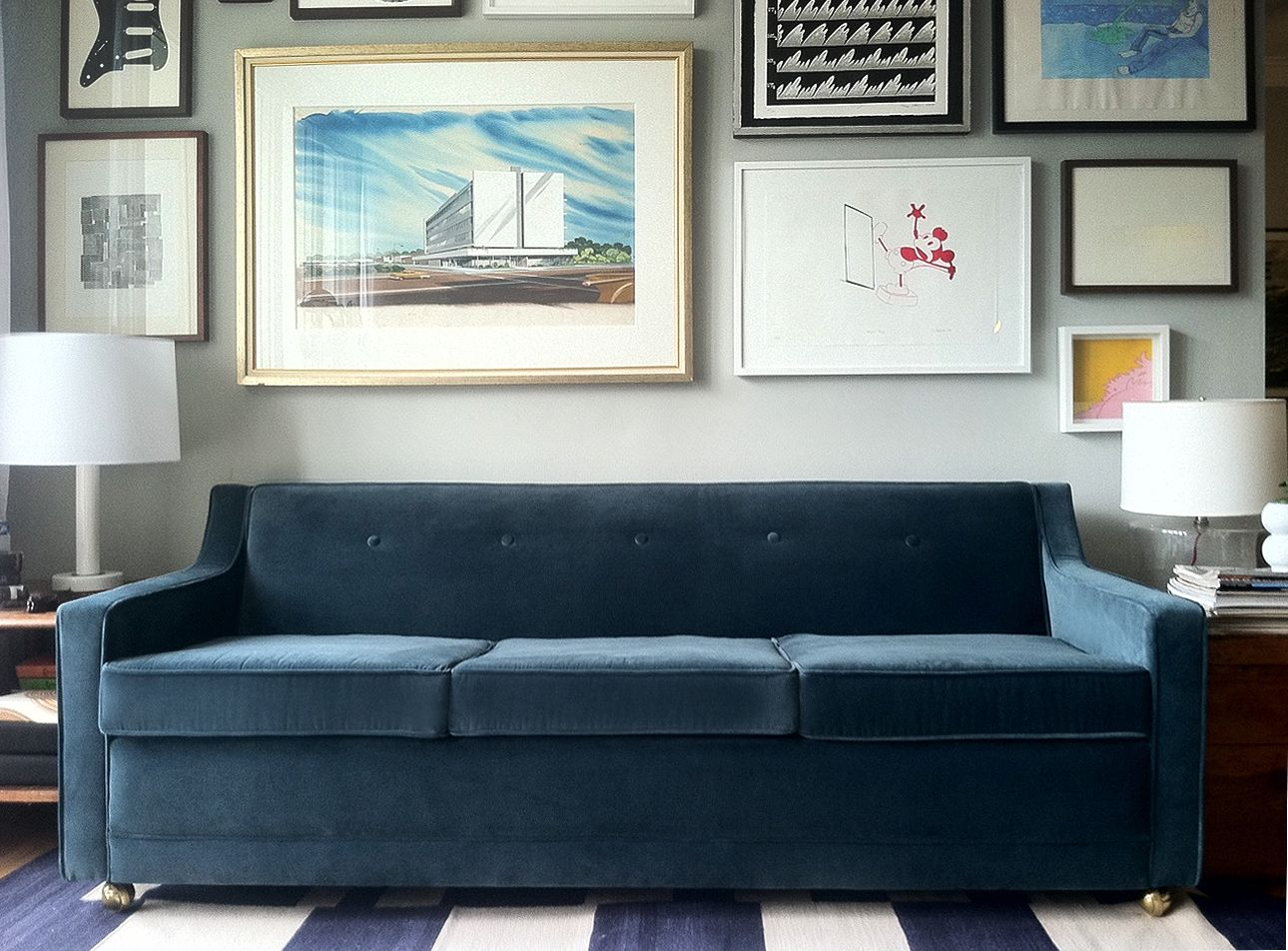 Attractive Yummy, Peacock Blue Velvet Couch   Reupholstered From Disgusting Before.  Yeah, Pretty Sure Iu0027ll Actually Pay Someone To Reupholster My Next Couch.