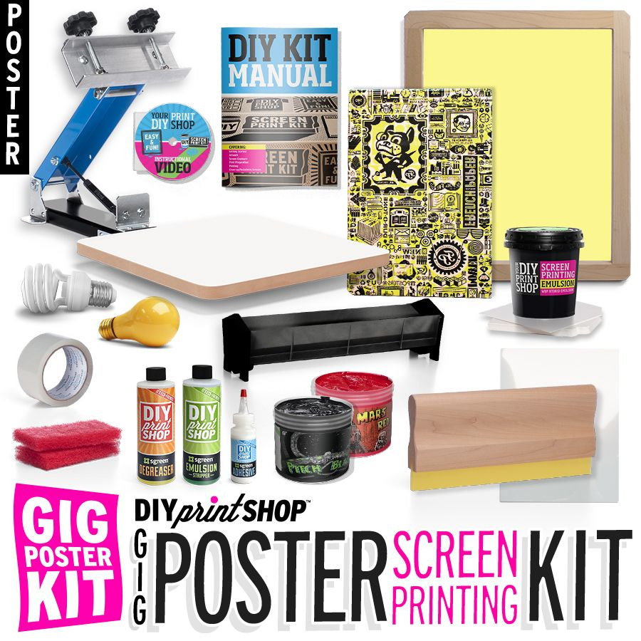 Httpdiyprintshop the diy print shop gig poster kit comes diy print shop do it yourself screen printing kits solutioingenieria Image collections