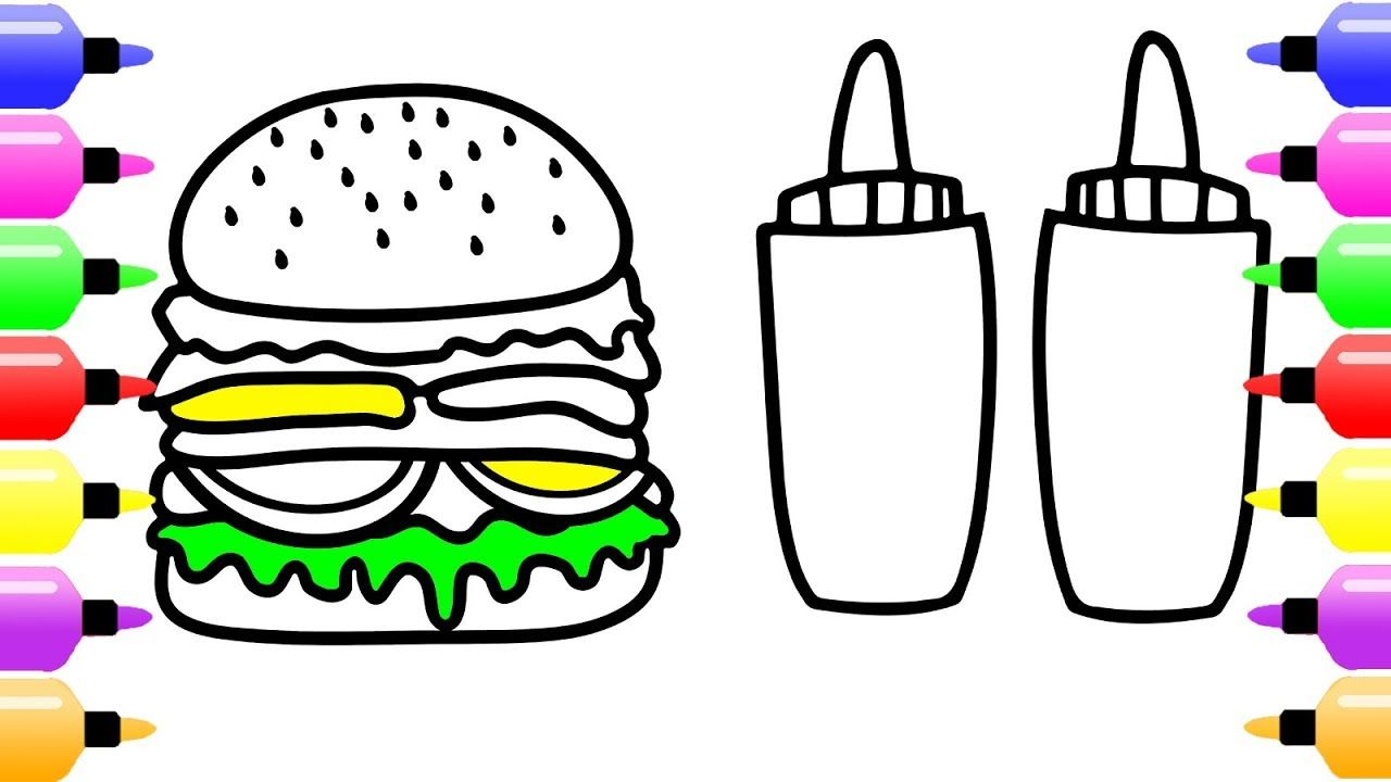 Hamburger Coloring Pages for Kids & Cute Coloring Book for ...