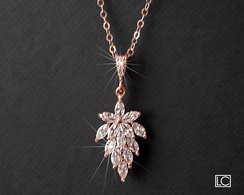 Leaf Cluster Rose Gold Necklace, Marquise Crystal