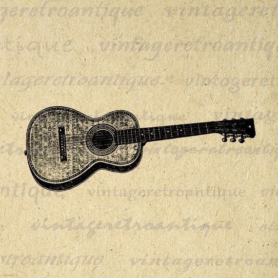 Antique Acoustic Guitar Graphic Printable Digital Music Image ...