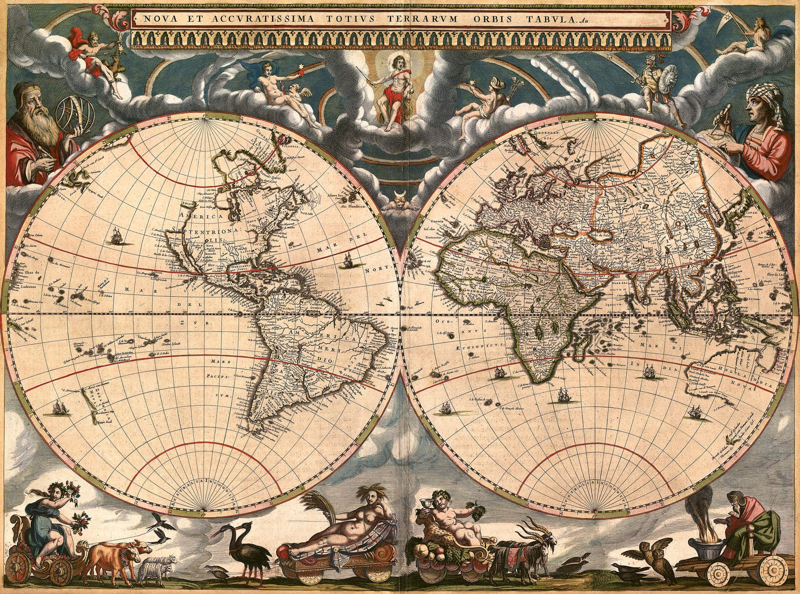 antique world map old vintage map 1685 fade resistant hd art print or