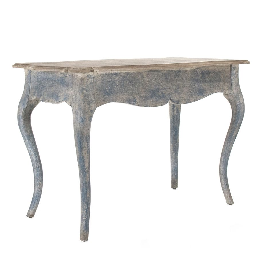 Distressed blue console table painted furniture table to buy warm and inviting this scalloped front french style console table is given a heavily distressed denim blue finish and a natural wood top to add a subtle geotapseo Gallery