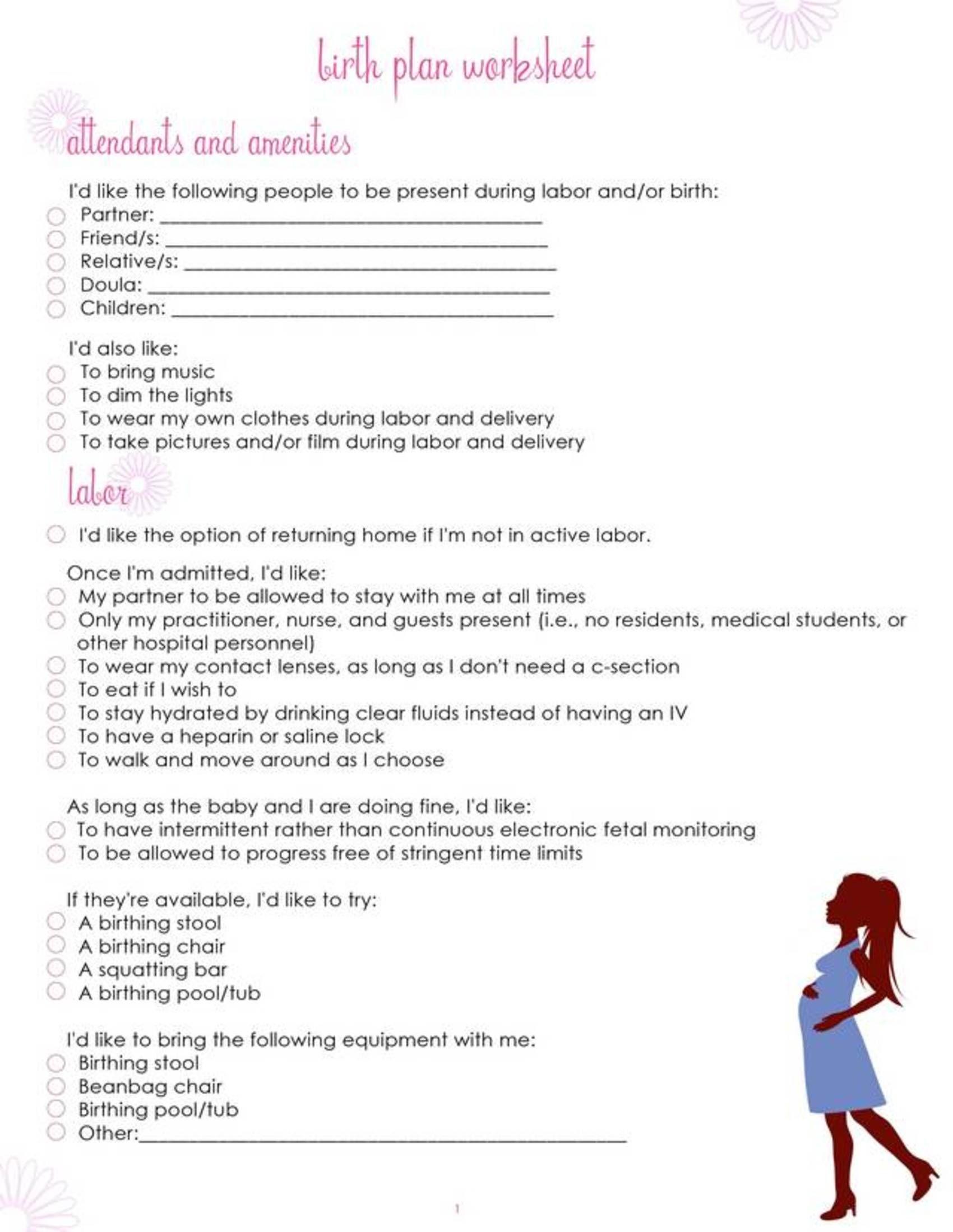 Printable Checklists Birth Plan Page 1