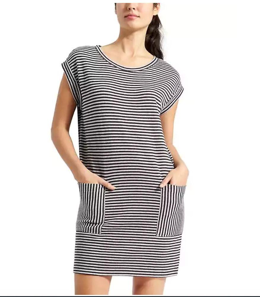 30bdfde72d2 Athleta Ease Up Sweatshirt Dress NWOT Medium Petite Black Stripe  89.00   Athleta  Casual