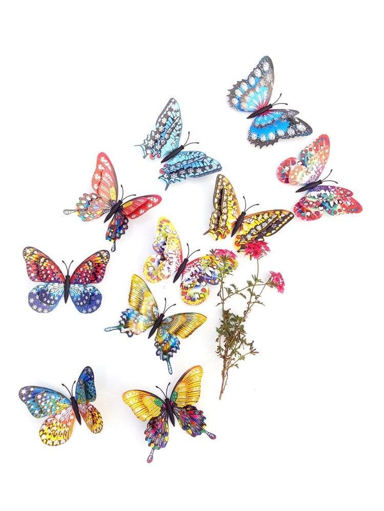 10 pcs 3d butterfly wall stickers - multicolor | nicole