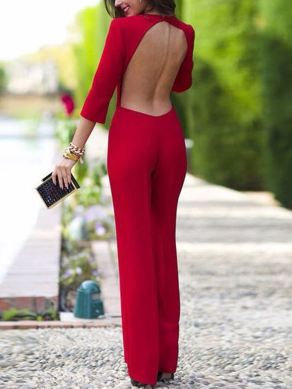 d0a3882db71 Red Long Sleeve Backless Jumpsuit EmmaCloth-Women Fast Fashion ...