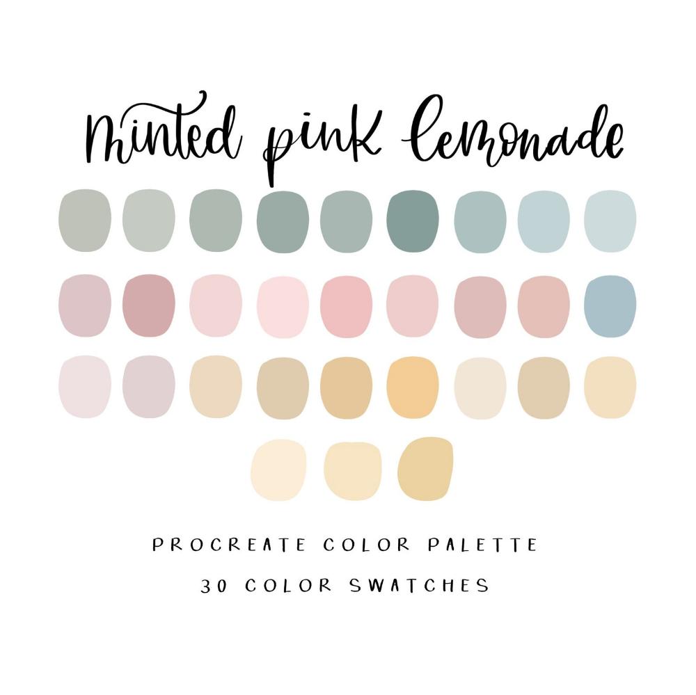 Minted Pink Lemonade Procreate Color Palette Procreate Color Etsy In 2020 Pastel Colour Palette Color Psychology Color Palette Design