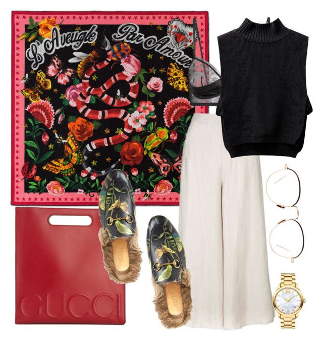 """""""Gucci"""" by sara-fernandez97 ❤ liked on Polyvore featuring Gucci, Topshop, Movado and Linda Farrow"""