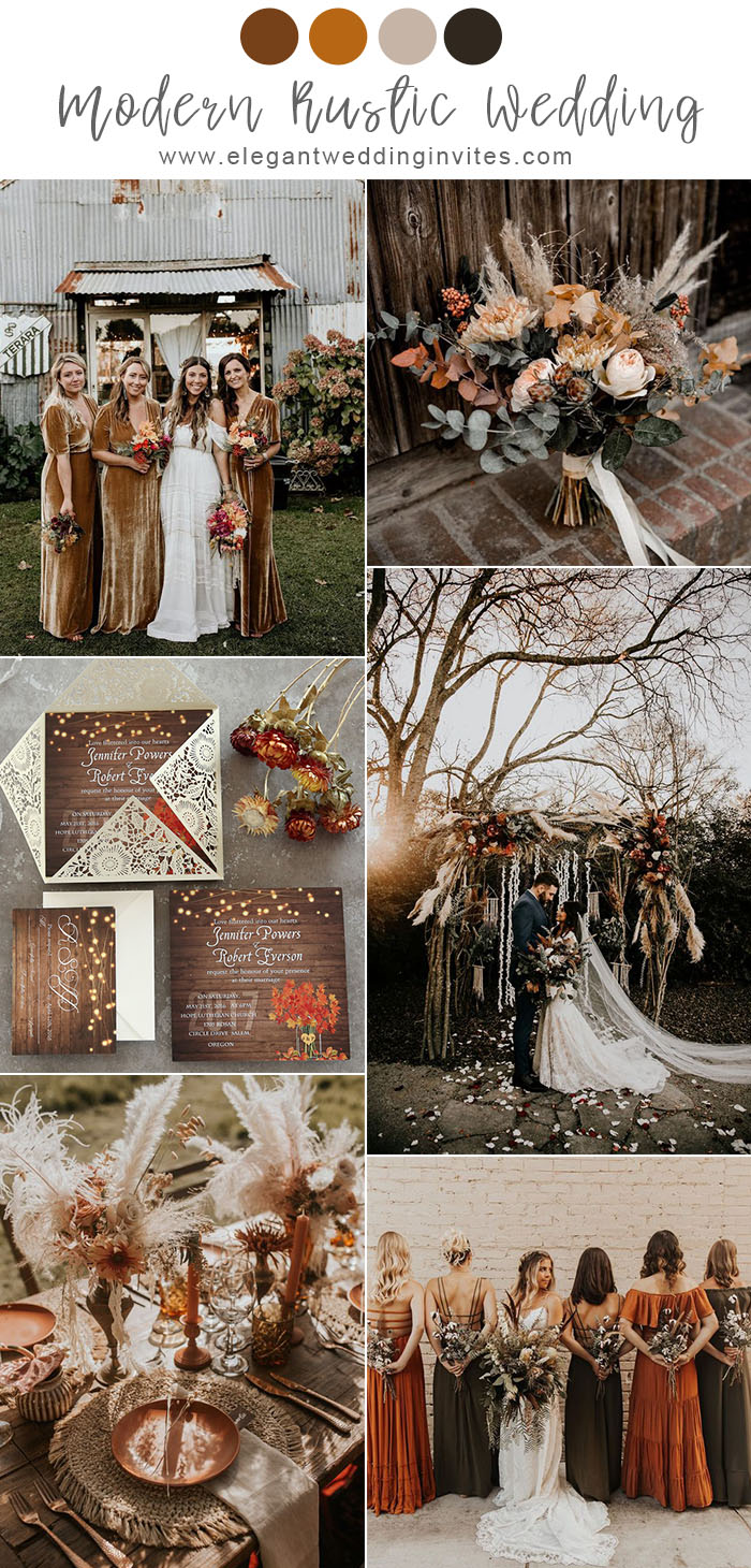 7 Pretty Chic Modern Rustic Wedding Colors And Ideas Elegantweddinginvites Com Blog In 2020 Rustic Modern Wedding Rustic Wedding Colors Fall Wedding Color Schemes