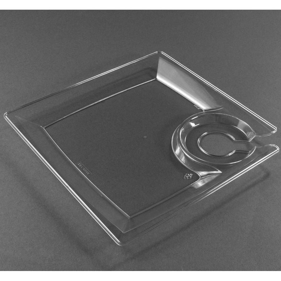WNA Comet MSCTL 8\  Clear Square Milan Plastic Cocktail Plate with Cup Holder - 120/Case & WNA Comet MSCTL 8\