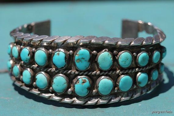 Vintage Southwestern Tribal Navajo Style Sterling Silver and Turquoise Row Bracelet