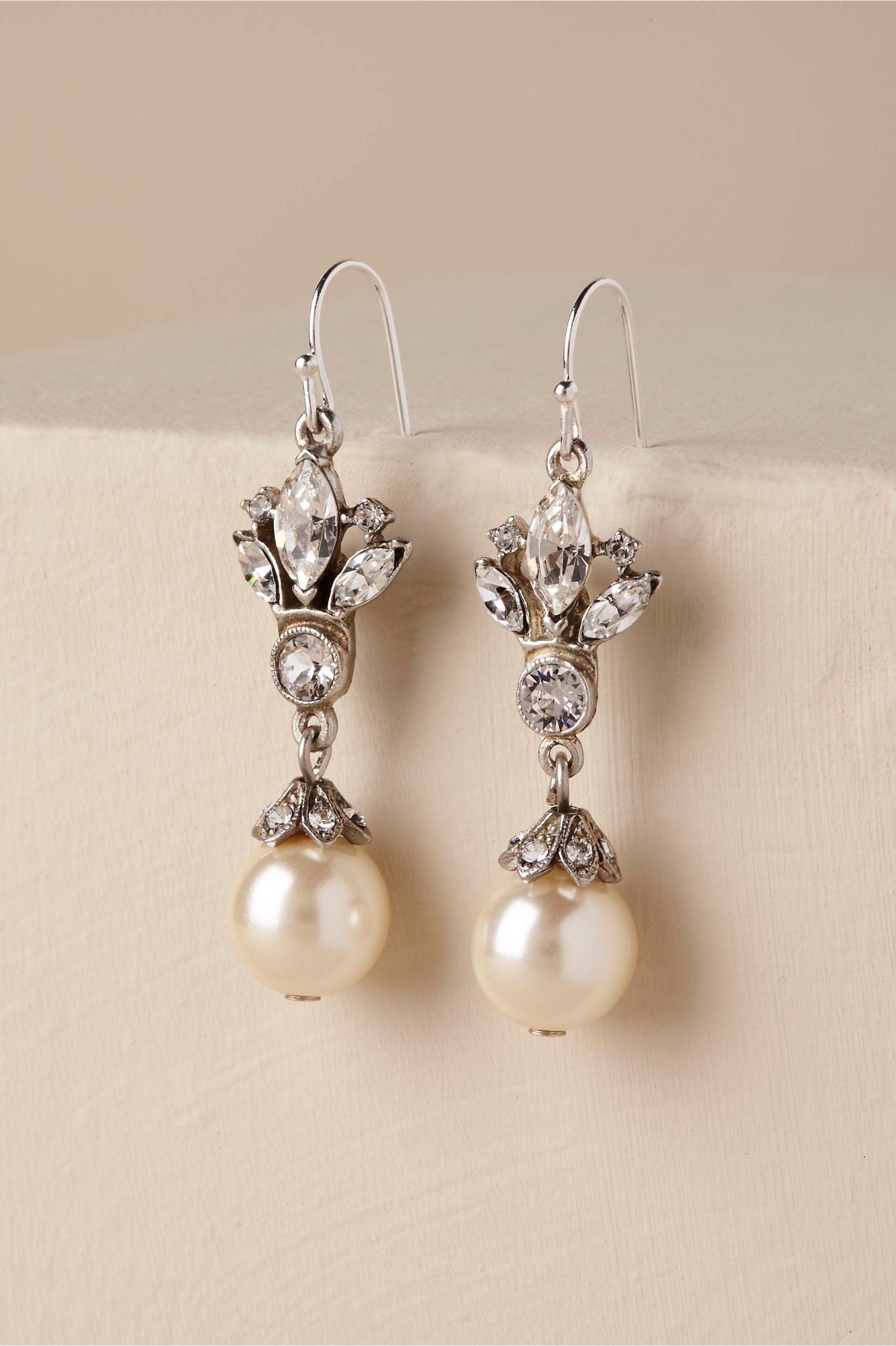 Bhldnus benamun adelle drop earrings in silver wedding wedding
