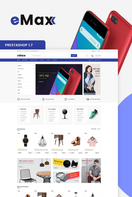 eMax The Shopping Mall OpenCart Theme it is a simple and