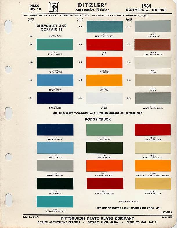 Color Chip Selection 1964 Light Green 43244