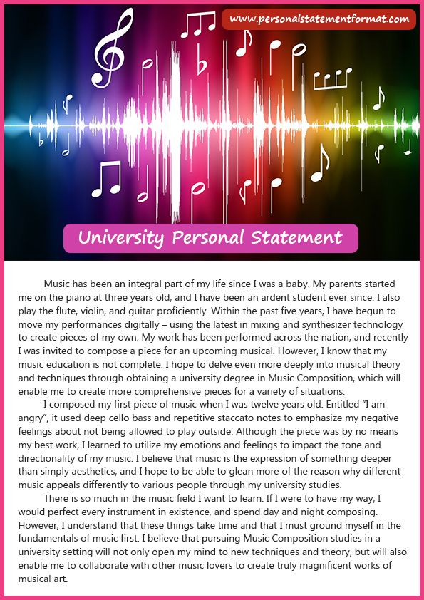 Read about university personal statement format Personal Statement