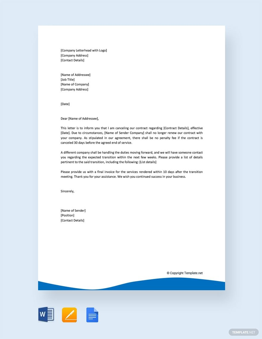 Free Contract Cancellation Letter Lettering Letter Templates