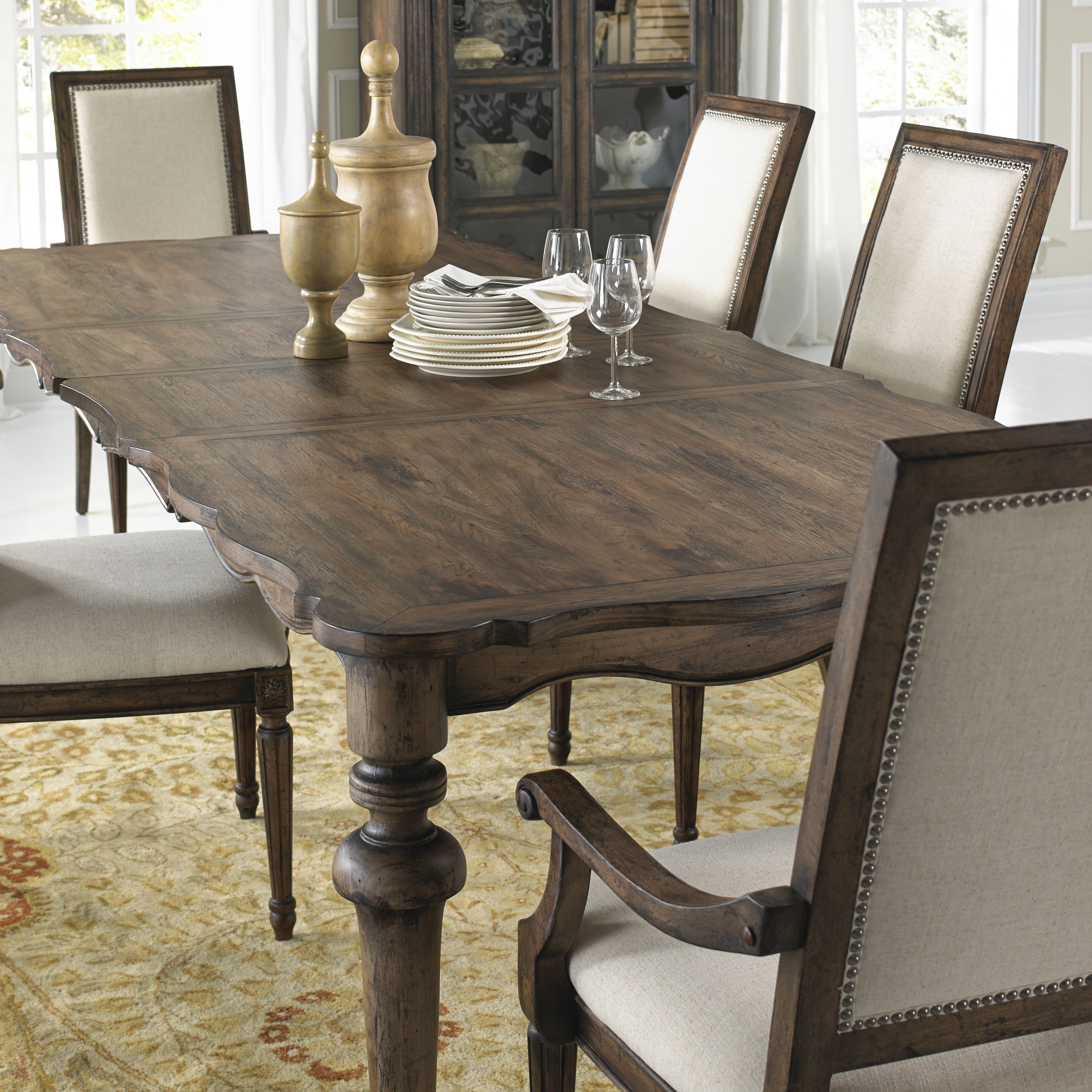 Dark Wood Dining Sets: The Dark Wood Grain Adds A Simple Elegance To This