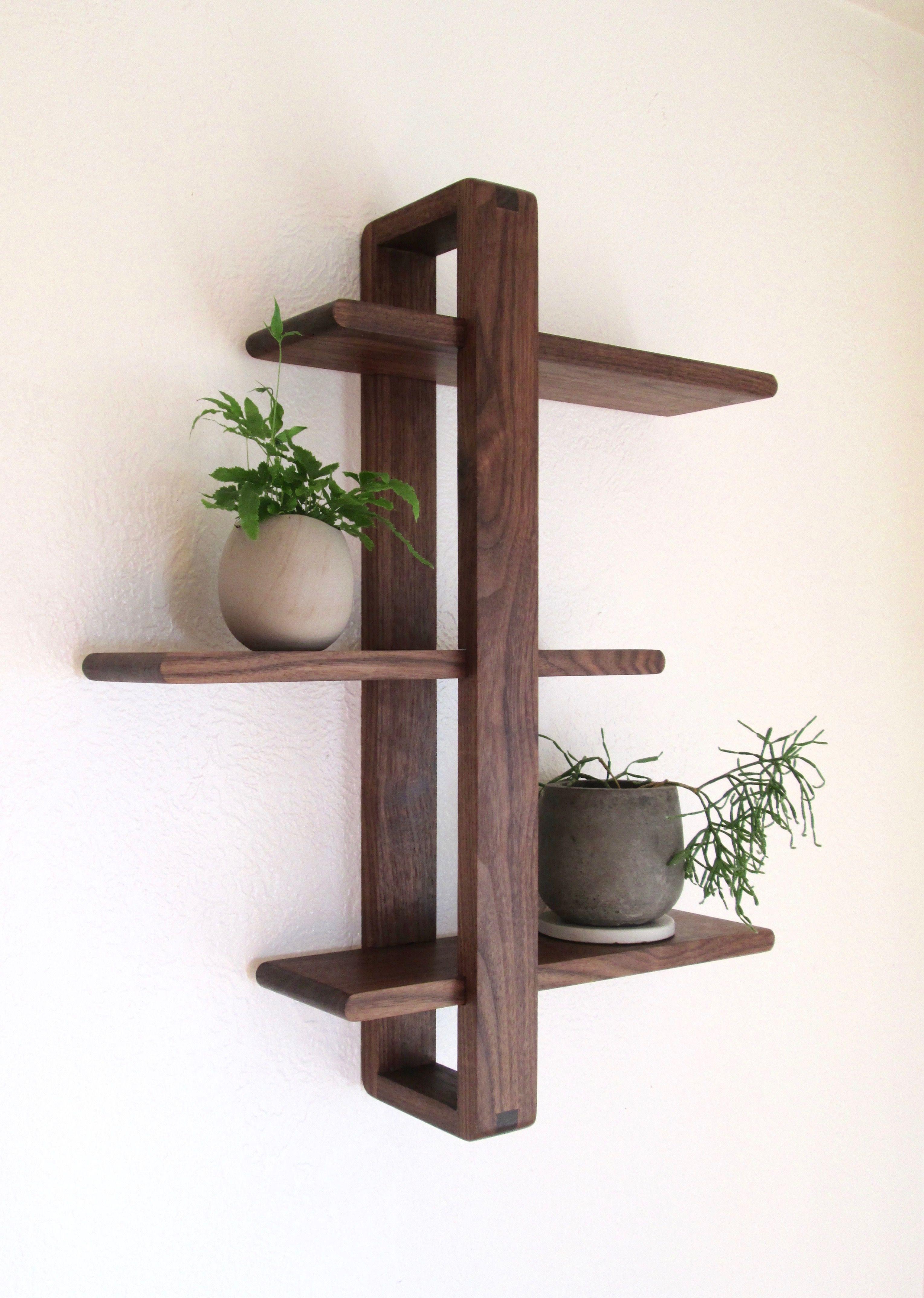 Shift Shelf Modern Wall Shelf Solid Walnut For Hanging Plants