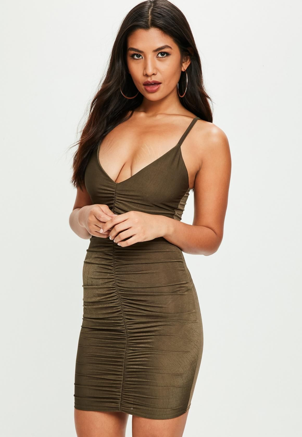 4ee3adc4632c Missguided - Khaki Slinky Ruched Strappy Front Mini Dress | Wants ...