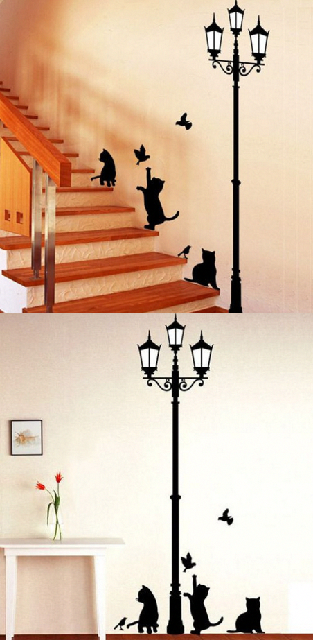 Wallpapers Popular Ancient Lamp Cats And Birds Wall Sticker Wall Mural Home Decor Room Kids Decals Wallpaper