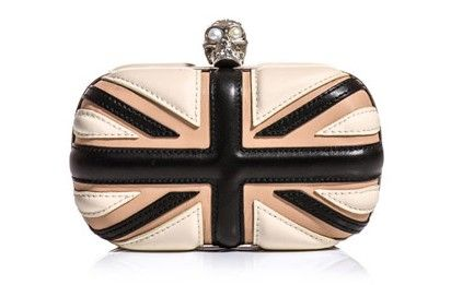 Alexander McQueen  Leather Union Jack box clutch (137065) from globaltextiles.com