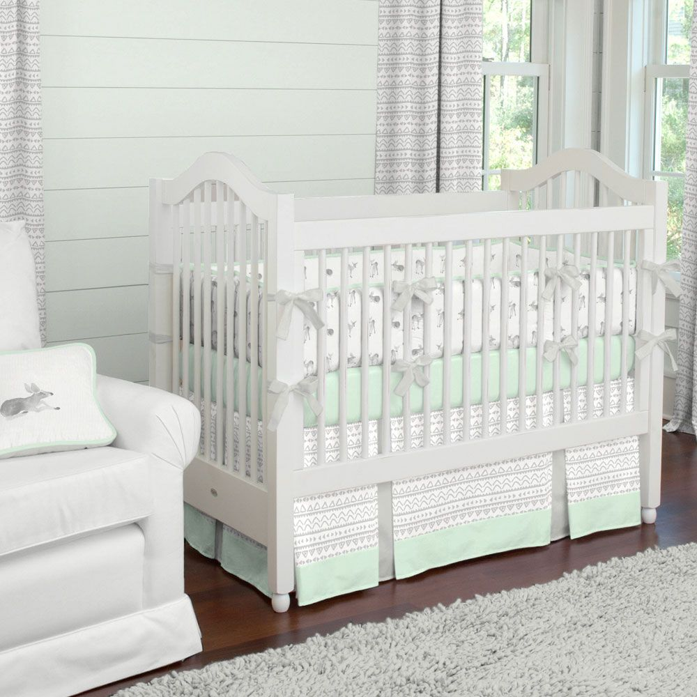 French Gray And Mint Quatrefoil Crib Bedding