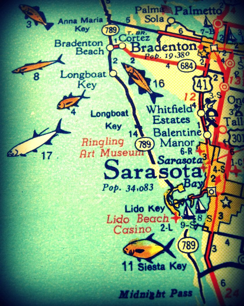 Sarasota Map Art Siesta Key Map Art Vintage Florida Map Art - Florida map beach