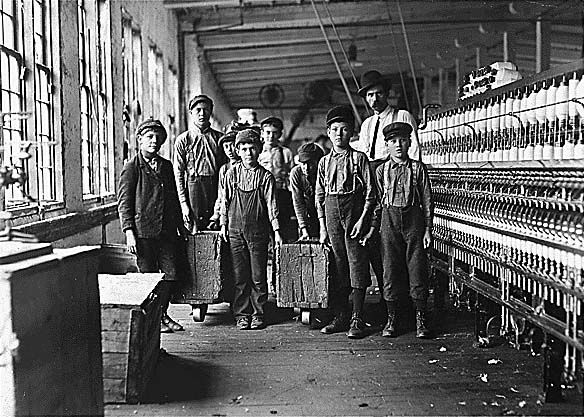 What types of factories did children work in around the 19th century?