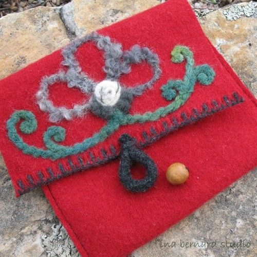Felted Flower Pouch, Bag From Recycled Sweater Wool Felt - Red | InaBernardStudio - Bags & Purses on ArtFire