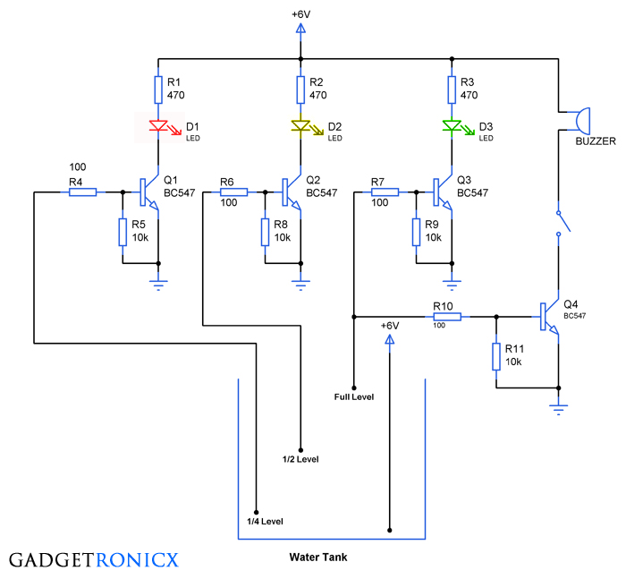 Water level indicator Circuit | Circuits, Water and Circuit diagram