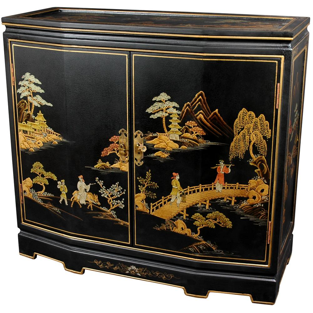 Oriental Unlimited Furniture Black Lacquer Anese Slant Front Cabinet