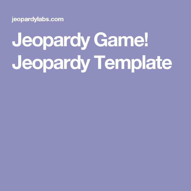 Jeopardy Game Jeopardy Template  Bible Activities