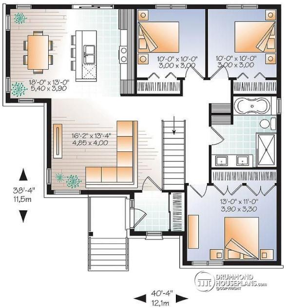 Plano de casa simple con 3 dormitorios 1 planta y dise o for Planos de casas 1 planta