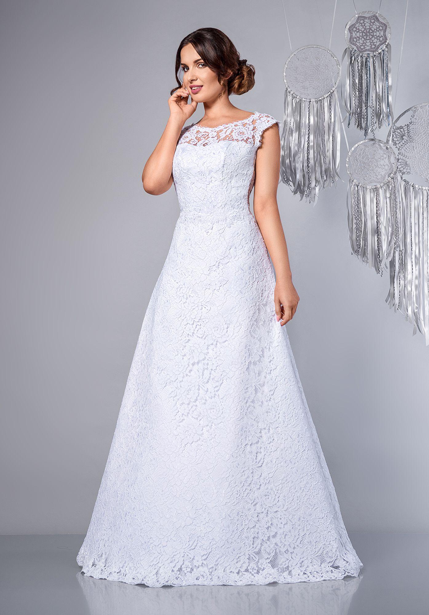 White Suknia Slubna Koronkowa Litera A A Line Full Lace Wedding Dress Sukniaslubna Weddingdress Weddinggow Wedding Dresses Wedding Dresses Lace Dresses