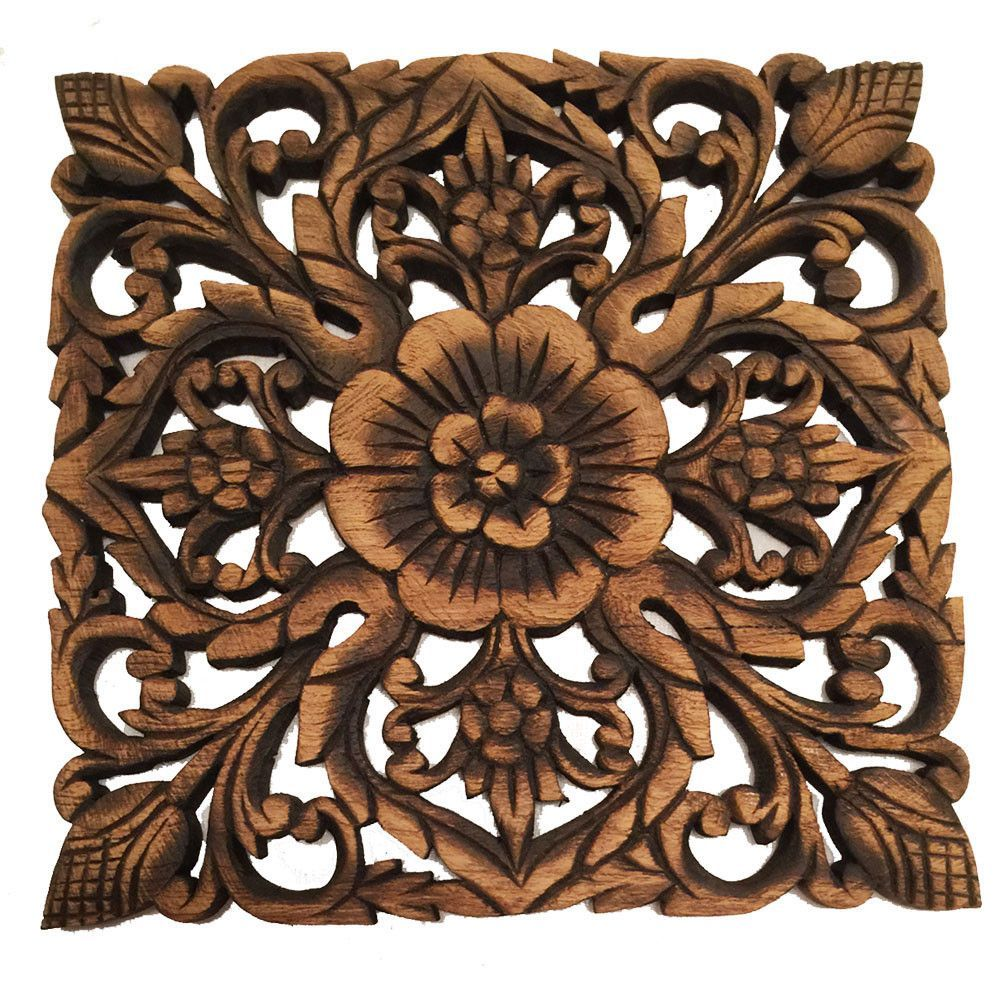 Wood plaque oriental carved lotus rustic wall decor hand carved