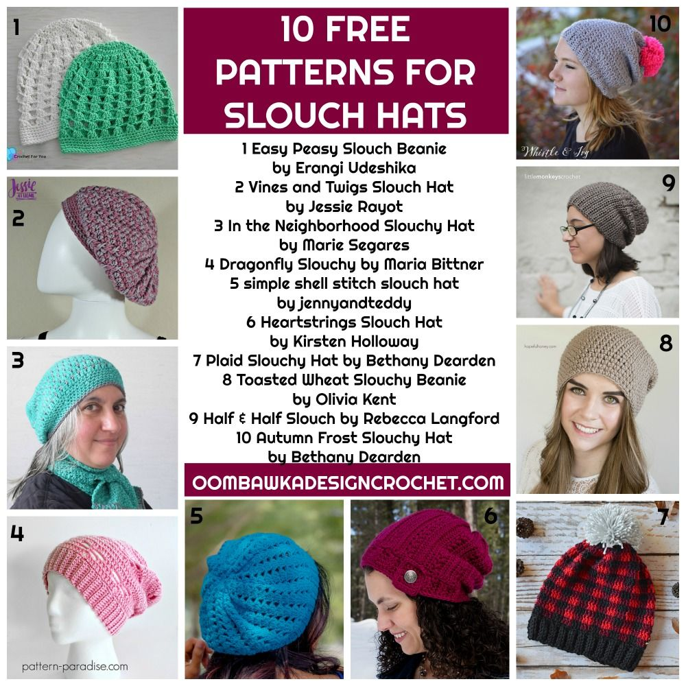 10 Free Patterns for Slouch Hats | Crochet Accessories for Women ...